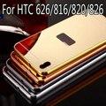 Efecto Espejo de lujo del caso para HTC Desire 626/816/820/826 marco De Aluminio de Metal Duro + PC Protector de la cubierta del teléfono Móvil de la contraportada