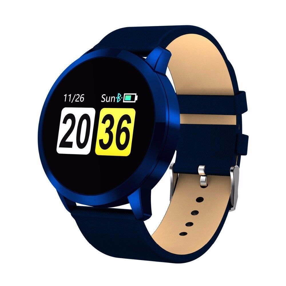 Neue Q8 0,95 zoll OLED Farbe Bildschirm Uhr Trinken erinnerung Rufen Erinnerung Blutdruck Herz Rate Smart Uhr für Android iOS