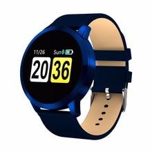 Новый Q8 0,95 дюймов OLED Цвет Экран часы пить напоминание крови Давление сердечного ритма Смарт часы для Android iOS