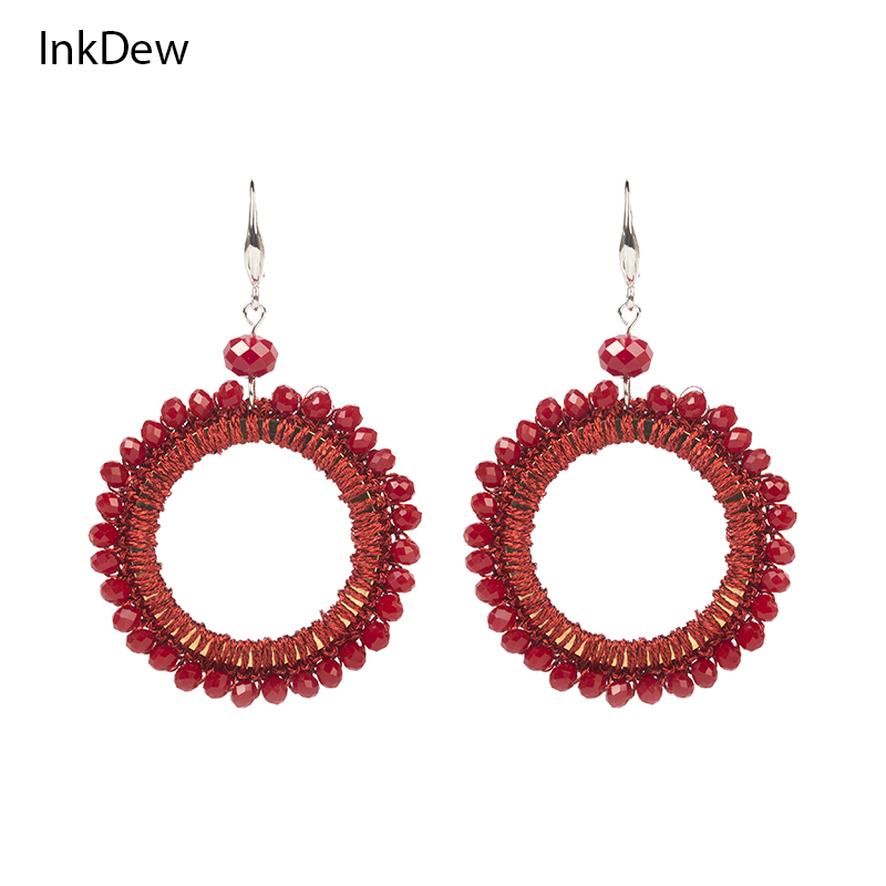 INKDEW Braided Beaded Earrings Round Shape Big Long Earrings Drop Earrings for Women Handmade Crystal Earrings bohemian Style