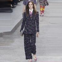 Высококачественные Женские твид куртка и штаны комплект, шерстяное пальто женский комплект из двух предметов, Удивительные Большие размер