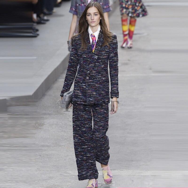 high quality women tweed jacket and pants set,wool coat female two piece set,amazing plus size suit set 5xl 6xl abrigos mujer