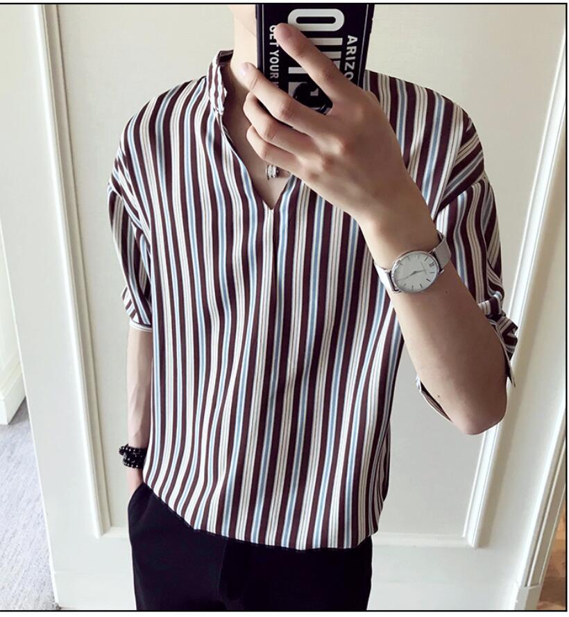a22a2241f8c 2019 Summer Striped Shirt Men Fashion Brand Loose Stand Collar ...