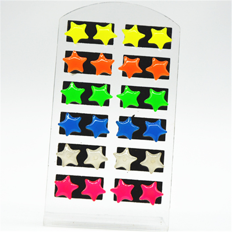 12 Pair /Lot Women Jewelry Colorful stars Stud Earrings Set For Girls Gift High Light Earring Quality Fashion Accessories
