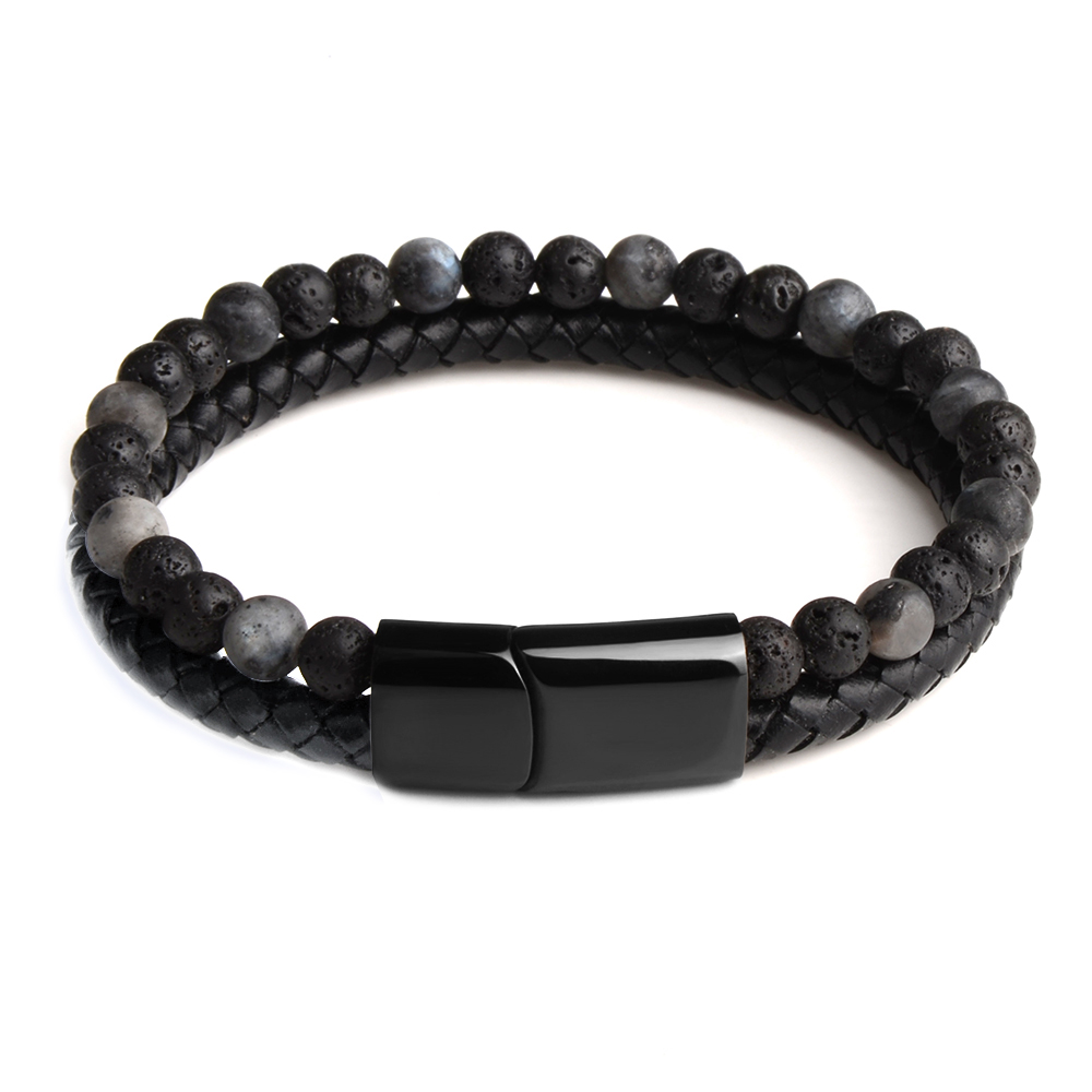 HTB1yG8vVbPpK1RjSZFFq6y5PpXa0 - Fashion Men Jewelry Natural Stone Genuine Leather Bracelet Black Stainless Steel Magnetic Clasp Tiger eye Bead Bracelet Men
