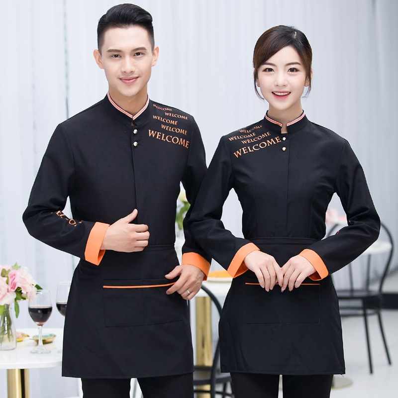 China Style National Work Clothers Long Sleeve Teahouse Overalls Women Men Restaurant Uniform Waiters Uniforms Unisex