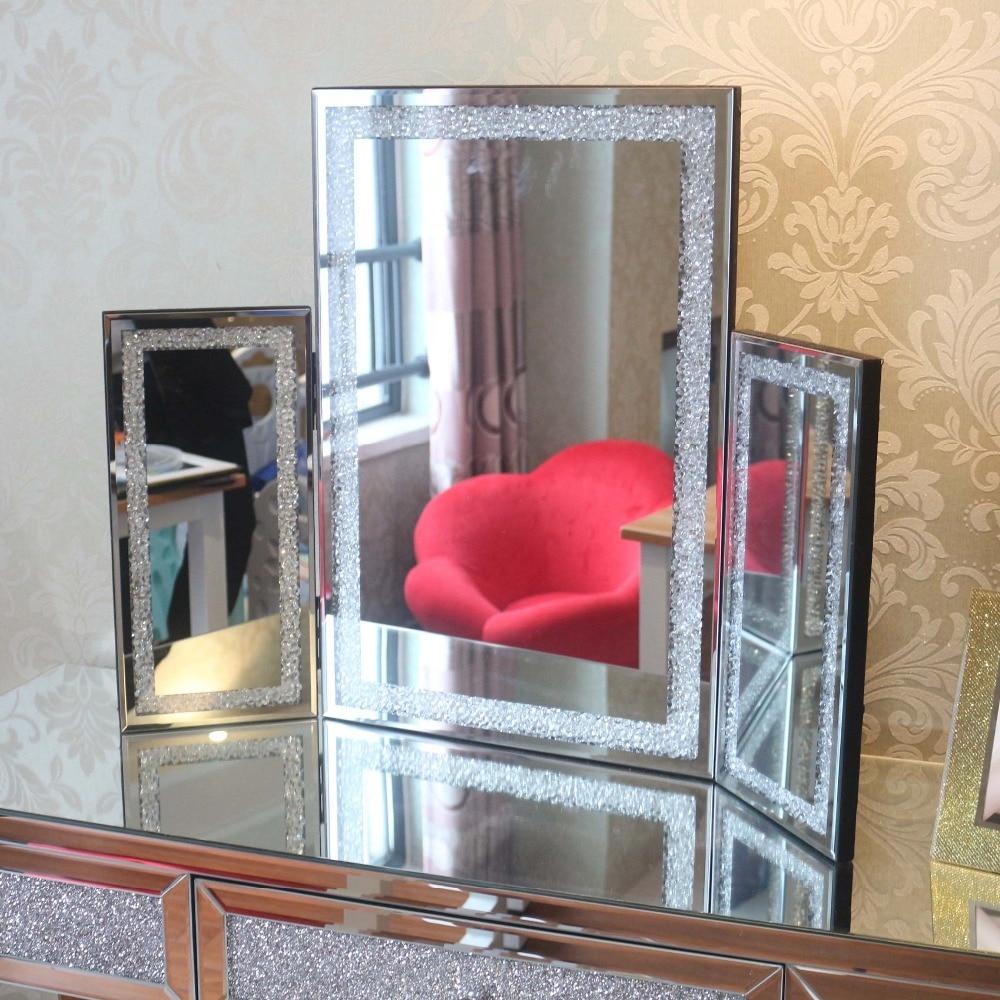 Рождественская мода хрустальное настольное зеркало стекло тройное зеркало туалетный косметический макияж скошенный край зеркало украшение