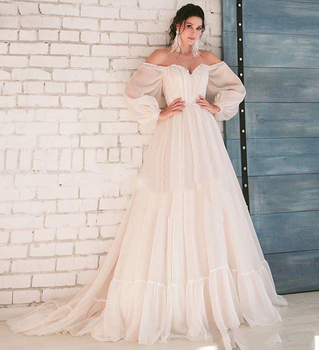 2019 Boho Ivory Wedding Dress A-Line Appliques Puff Sleeves Bride Dress White Lace Top Wedding Gown Free Shipping 2019