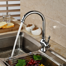 Deck Mount Single Lever Kitchen Rotation Mixer Taps Chrome Brass Water Faucet wih Hot Cold Hose