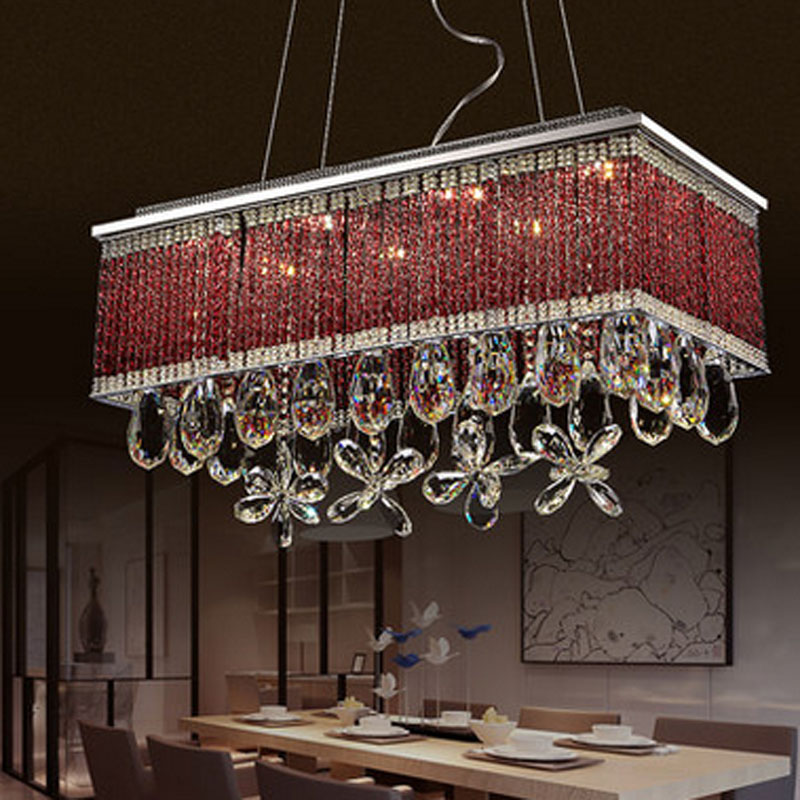 Modern Rectangular Restaurant Chandelier LED Crystal Pendant Lamps Individuality Creative Living Room Bedroom Indoor Lighting modern led crystal chandelier lights living room bedroom lamps cristal lustre chandeliers lighting pendant hanging wpl222