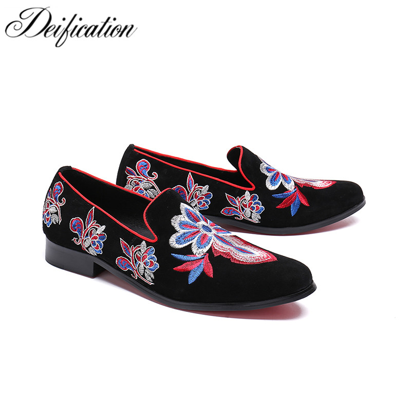 Deification Luxury Mens Shoes Casual 2018 Moccasins Slip On Loafers Men Fashion Italian Embroidered Men's Flats Male Boat Shoes deification stylish printed men s flats casual leather shoes moccasins big buckle men loafers fashion italian male party shoes