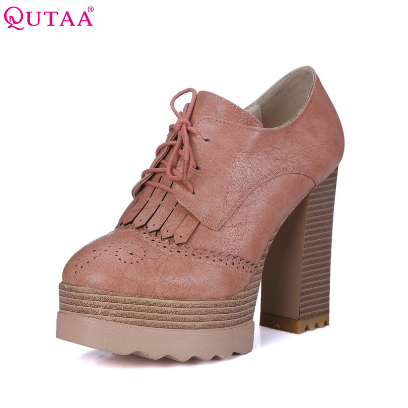 QUTAA 2018 Fashion Ladies Shoes PU leather Tassel Wedge Low Heel Platform Lace Up Woman Pumps Women Casual Shoes Size 34-42 hot selling black white women genuine leather shoes woman fashion hidden wedge heel lace up casual shoes size 33 40