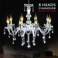 Mising AC110 240V 8 Heads E12 Clear Crystal Chandelier Light Modern Chandeliers Crystal Light Fixture Bedroom Hanging