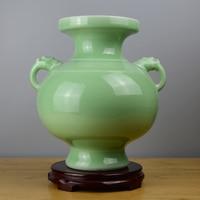 1PCS Pottery retro handicraft celadon vase Chinese style living room Bogog frame home decoration LU604102