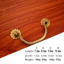 2pcs Pure copper drawer pull antique crack kitchen handle retro handle knob and pull cabinet for metal furniture handle