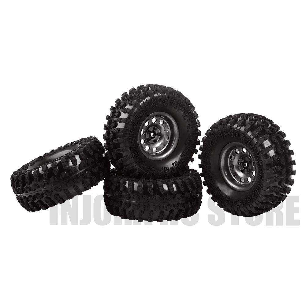 4PCS Metal 2.2inch Wheel Tires&Beadlock Wheel Rim for 1/10 RC Rock Crawler Car Axial SCX10 RR10 90053 Wraith Yeti 90056 injora 4pcs metal 2 2 inch beadlock wheel rim for 1 10 rc crawler axial scx10 rr10 90053 ax10 wraith 90056 90045 90048 yeti
