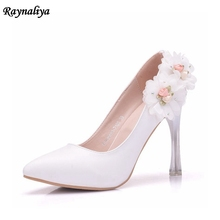 Romantic Elegant Bow Bride Shoes Pumps For Woman Graceful Curve Design High Heels Sexy Pointed Toe Wedding Shoes XY-A0033