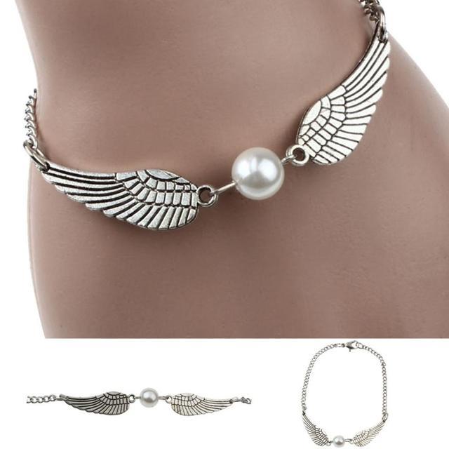 2019 New Arrival Fashion Silver Infinity Retro Pearl Angel Wings Jewelry Dove Peace Bracelet bracelet pierre naturelle #N03