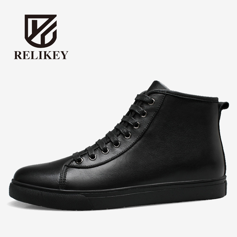 RELIKEY Brand Full Grain Leather Top-Quality Winter Men Boots Classic Super Warm Male Shoes With Plush Ankle Snow Boots for Men ms309 obd2 eobd fault code reader scanner diagnostic scan reset tool