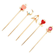 2019 New Hot Fashion Sailor Moon Heart Hollow Wing Double Sided Cartoon Crown Feautiful Women Jewelry Hairwear Hair Sticks 5051(China)