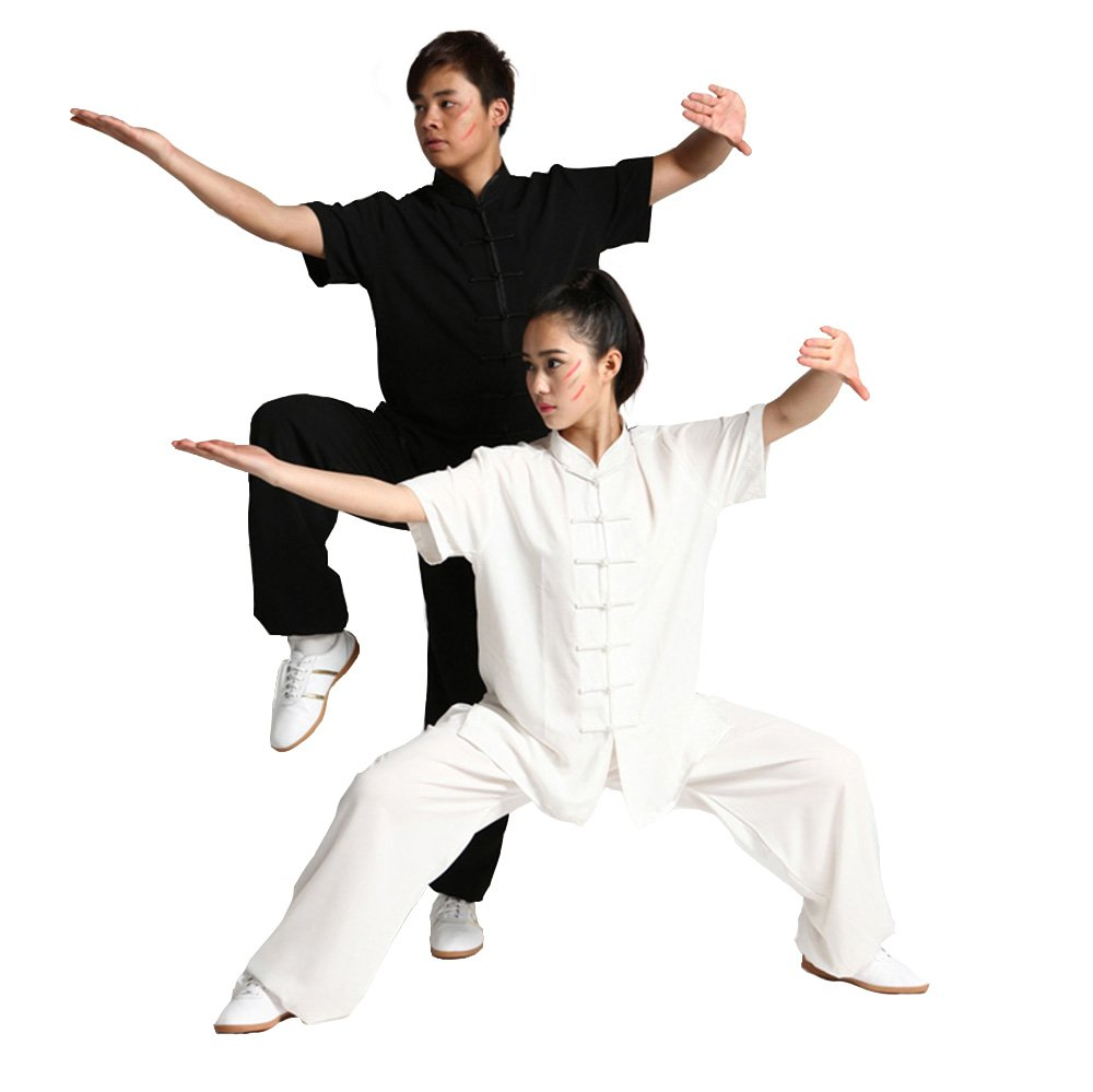 Unisex Chinese Cotton Blend Tai Chi Uniforms Martial Art Short Sleeve Clothes Kung Fu Clothing Wushu Suit