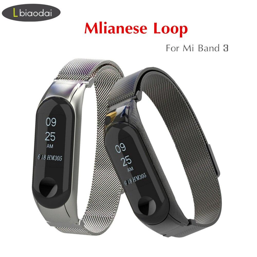 Mi Band 3 Strap for xiaomi Mi Band 3 Bracelet milanese wrist strap metal band Mi band3 Stainless Steel strap MiBand 3 Wristband