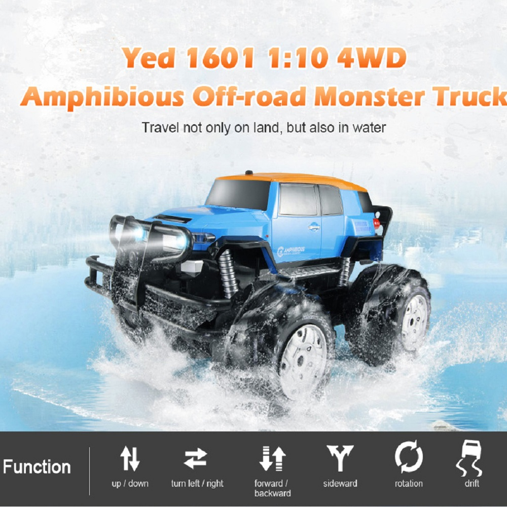 Dirt Bike Yed 1601 RC Car 1:10 4WD All-Terrain Amphibious Remote Control Off-Road Monster Car 12km/H High Speed RC water Cars Dirt Bike Yed 1601 RC Car 1:10 4WD All-Terrain Amphibious Remote Control Off-Road Monster Car 12km/H High Speed RC water Cars