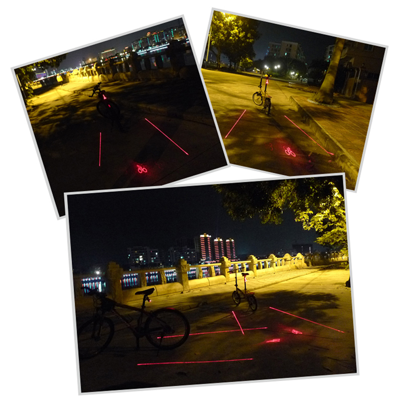 Cycling Logo Projection Bicycle Lamp 2 Laser+5 LED Tail Light Bike Projector