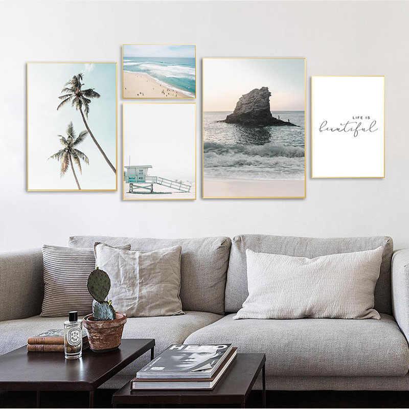 الاستوائية الساحلية الشاطئ قماش المشارك الشمال نمط جدار الفن طباعة المحيط البحر اللوحة الديكور صورة الاسكندنافية ديكور المنزل