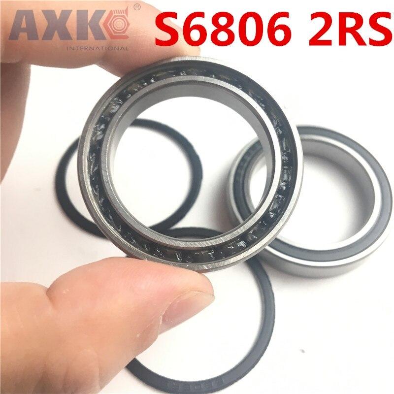 Axk 2pcs S6806 2rs S6806 2rs 6806 61806 440c Hybrid Ceramic Deep Groove Ball Bearing 30x42x7mm
