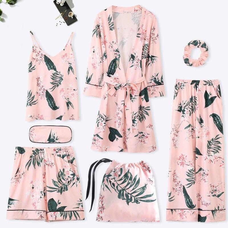 Femmes coton 7 pièces pyjamas ensembles avec pantalon printemps été femme fleur imprimé Pyjama vêtements de nuit doux Pijama Homewear