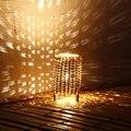 Personalizada De Bambú tejido lámpara de mesa LED de luz de la noche romántica creativa lámpara Atmósfera dulce sueño de la lámpara E14 de ahorro de energía