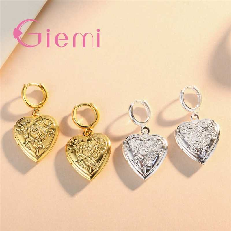 Hot Sell 925 Sterling Silver Heart Rose Flower  Floating Locket Lovers Stud Earrings For Wedding Pary Female Jewelry Gift