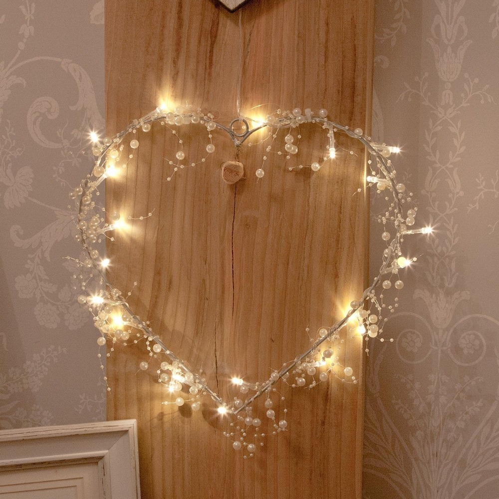 Battery Powered Energy String Decorative Pearls and Lights Garland, LED String Light, Pearlized ...