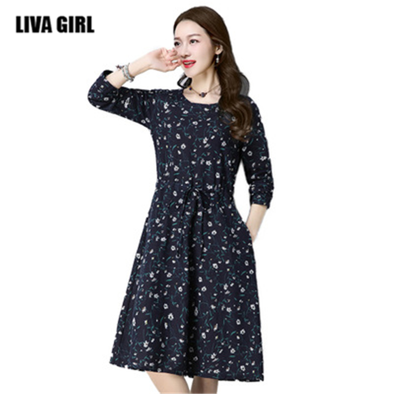 Spring Autumn New Large Size Loose Print long-sleeved Dress Ethnic Style Retro Lace Waist Long Section Of The Dress For Women