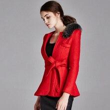 2016 Winter coat women casaco feminino short woolen coat blue black red V-Neck real Fox fur decorate slim manteau Christmas coat