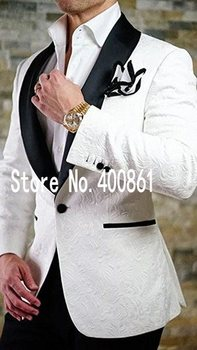Side Vent One Button White Paisley Groom Tuxedos Shawl Lapel Groomsmen Mens Wedding Suits Blazers (Jacket+Pants+Tie) W:494