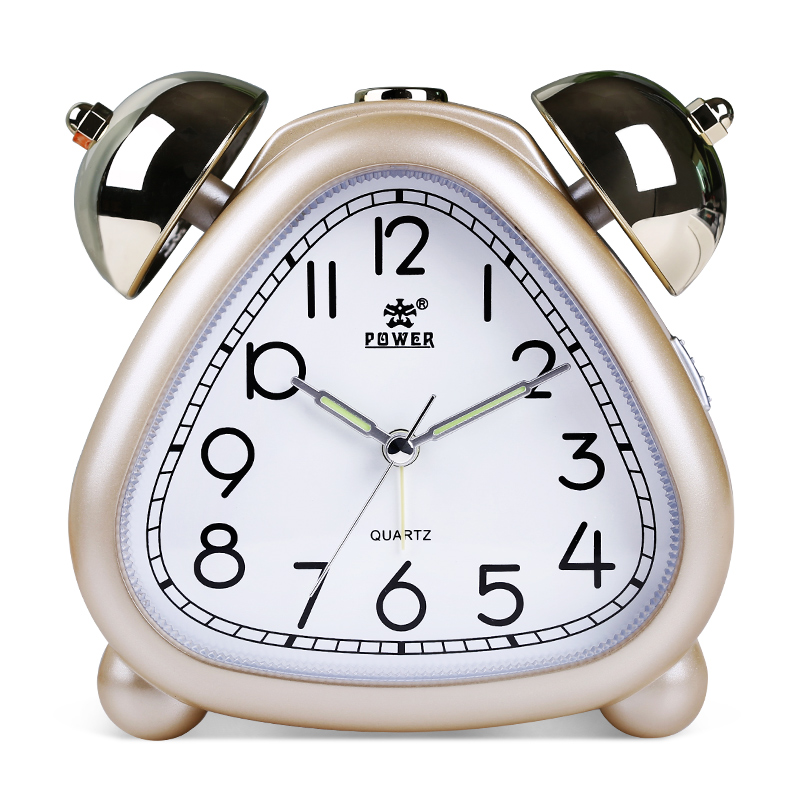POWER Alarm Clock Twin Bell Carton Non-Ticking Quartz Music Alarm - Dekorasi rumah - Foto 1