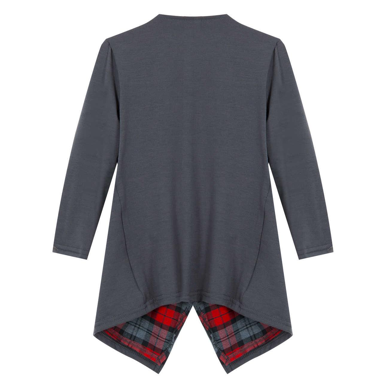 Hirigin повседневные Для женщин с длинным рукавом серый Цвета отложным воротником хлопковый кардиган свитер кардиган