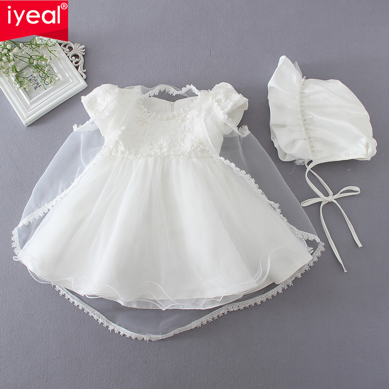 IYEAL High Quality Princess Newborn Baby Girl Dress Baptism Birthday Christening Gown for Infant Pageant Dresses Age 0-18 Months