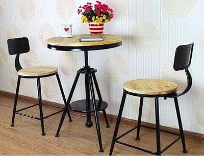 Vintage Small Round Wood Tea Cafe Tables Restaurant And Chairs To Discuss Eating Dessert