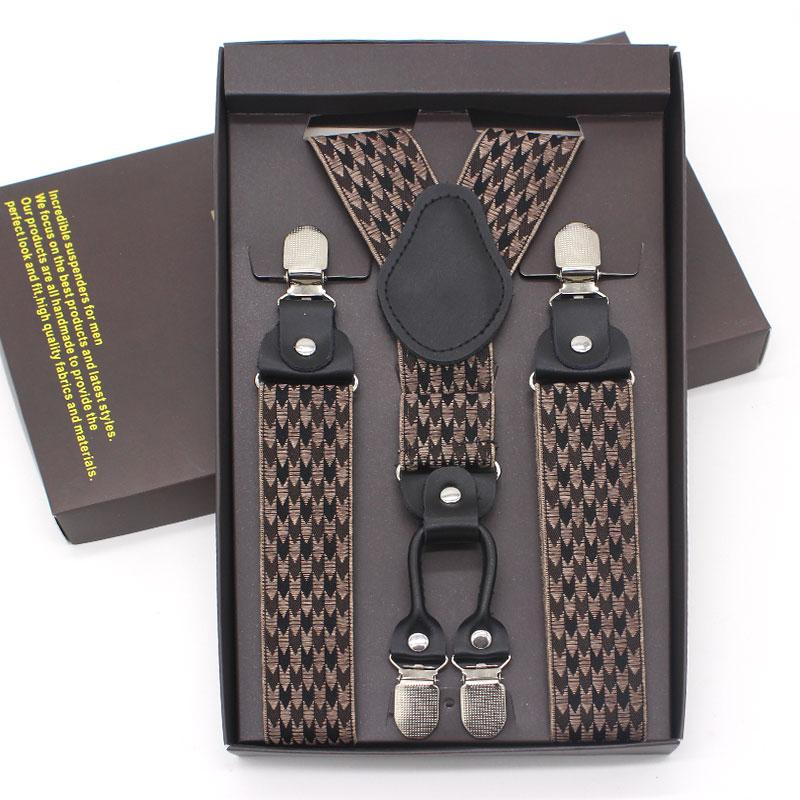 Elegant 4 Clip Men's Suspenders Men Commercial Braces Supports Tirantes For Women Elastic Adjustable Pants Straps Clothing