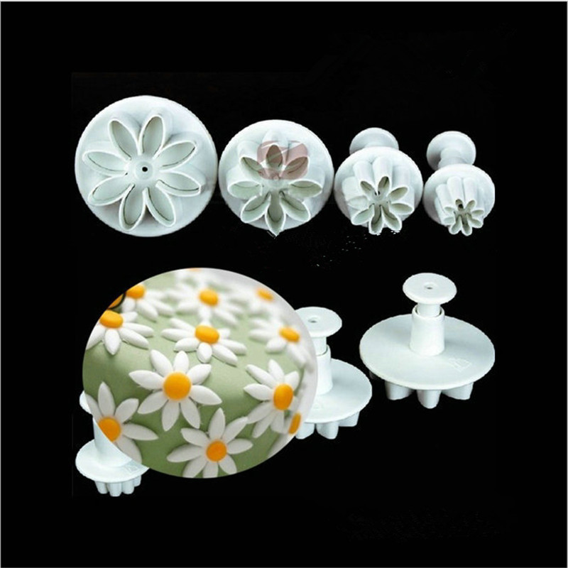 4pcs Set Daisy Plunger Mold Cake Decorating Cookie Cutters Fondant Sugarcraft Cutter Tool Cake For