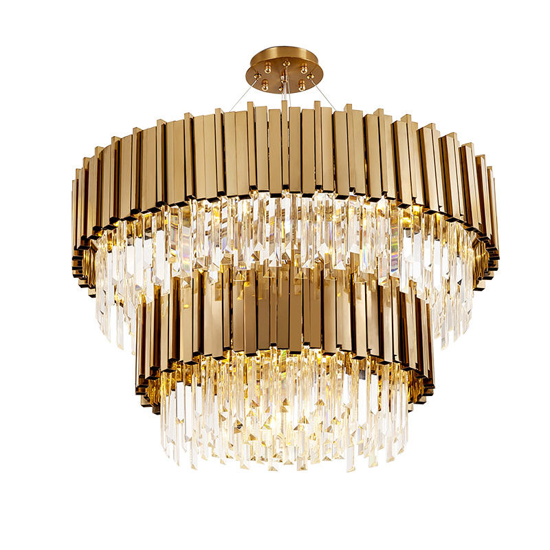 luxury design 2 layers crystals chandelier modern gold hanglamp AC110V 220V lustre living room lights hotel chandelier
