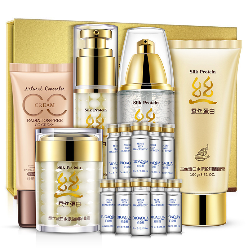 BIOAQUA Silk Protein Moisturizing & Brightening Set Skin Care Nourishing Cleanser,Toner, Lotion, Cream, CC Cream, Essence bioaqua silk protein moisturizing facial care suit 5pcs set essence cream essence liquid toner cleanser cc cream whitening