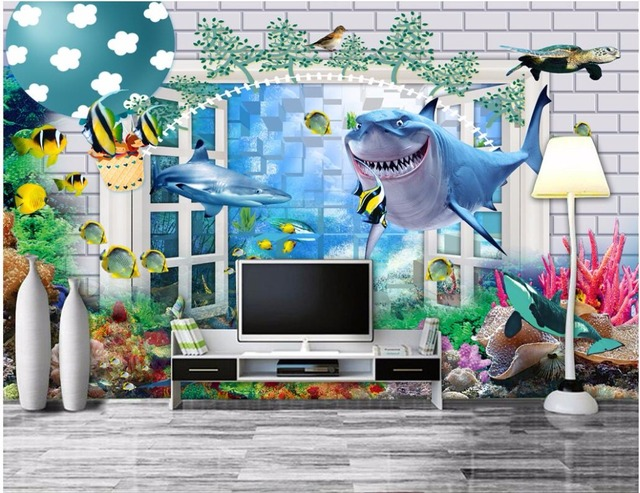 Custom mural 3d photo wallpaper Shark outside the underwater world