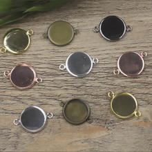 10pcs Double Ring Round Blank Connector DIY Cabochon Base 10/12/14/16/18/20/25mm Plate Gold/Silver/Bronze Metal Setting Findings mibrow 10pcs lot stainless steel 8 10 12 14 16 18 20mm blank french lever earring tray cabochon setting cameo base jewelry