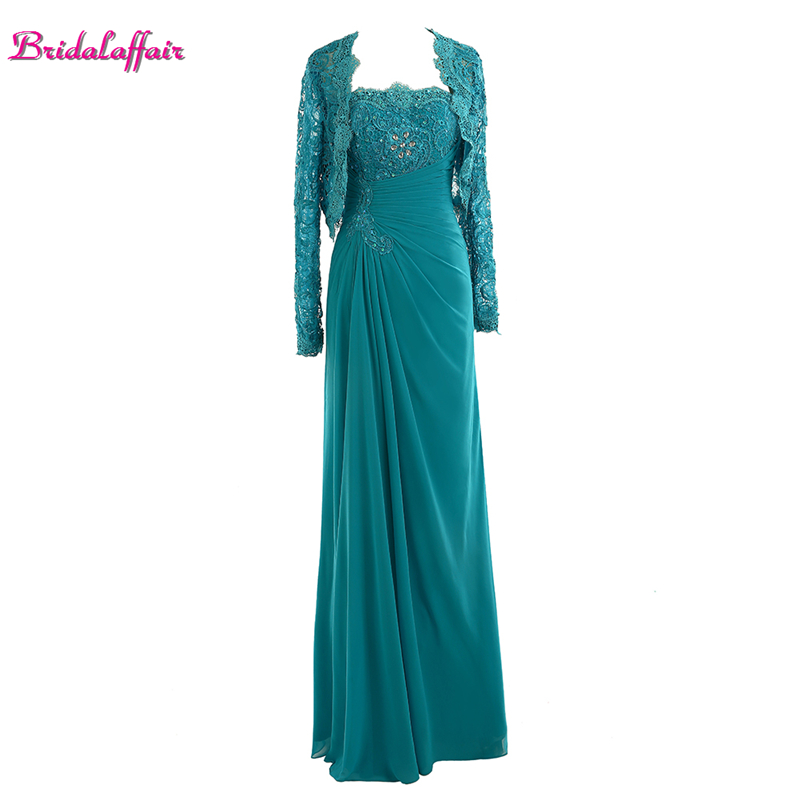 Bridalaffair Real Photo Green Strapless   Prom     Dresses   2017 with Jacket New Long Sleeve Appliques Lace Party Gown Vestido de festa