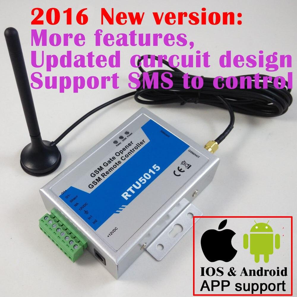 Livraison gratuite RTU5015 Upgrated RTU5024 GSM Porte Ouvre-porte de L'opérateur avec SMS Télécommande D'alarme 1 Sortie et 2 Entrées App