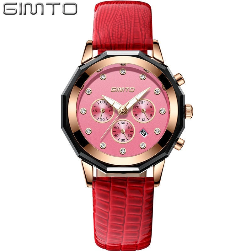 GIMTO Brand Luxury Crystal Women Watches Rose Gold Clock Leather Dress Bracelet Lovers Lady Quartz Watch Sport relogio feminino swiss fashion brand agelocer dress gold quartz watch women clock female lady leather strap wristwatch relogio feminino luxury
